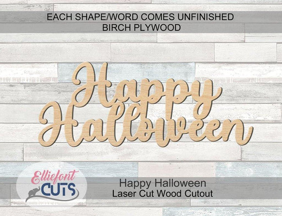 Happy Halloween Wood Words - Elliefont Styles