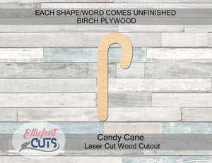 Candy Cane Wood Cutouts - Elliefont Styles