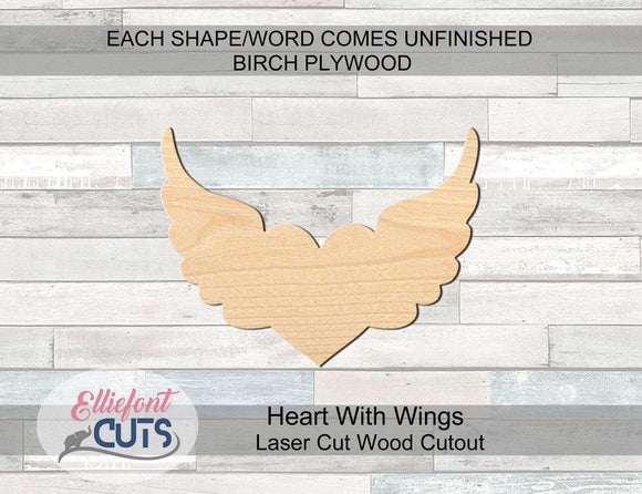 Heart With Wings Wood Cutouts