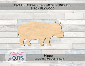 Hippo Wood Cutouts - Elliefont Styles
