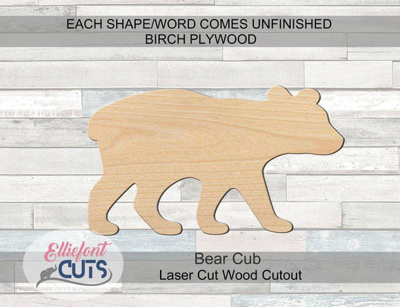 Bear Cub Wood Cutouts