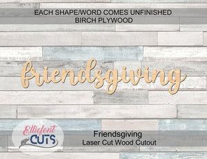 Friendsgiving Wood Words - Elliefont Styles