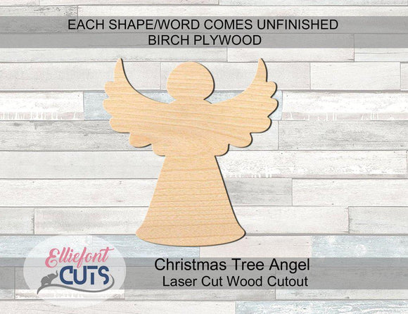 Christmas Tree Angel Wood Cutouts