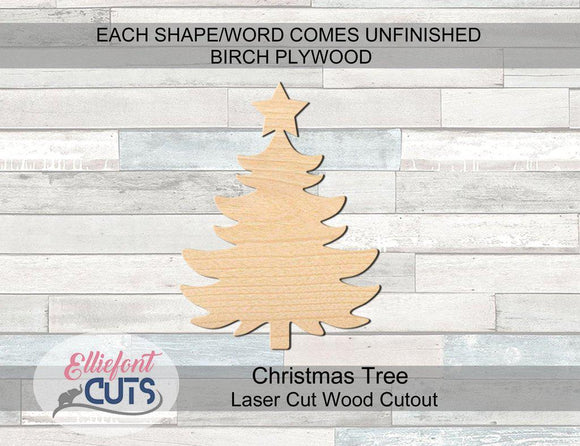 Christmas Tree Wood Cutouts - Elliefont Styles