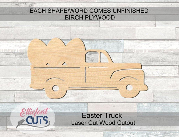 Easter Truck Wood Cutouts