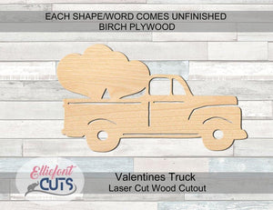 Valentines Truck Wood Cutouts - Elliefont Styles