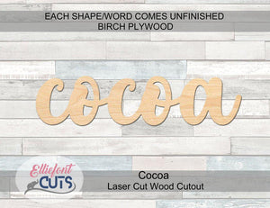 Cocoa Wood Words - Elliefont Styles