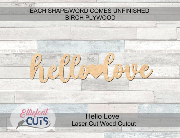 Hello Love Wood Words