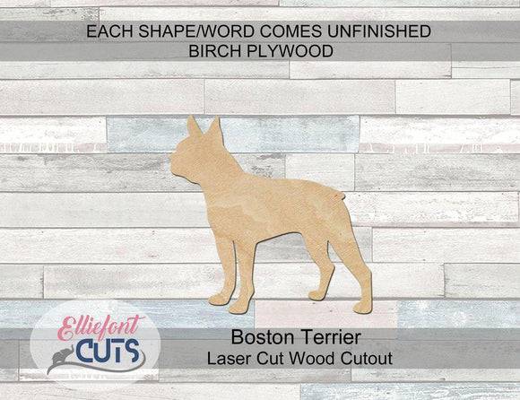 Boston Terrier Wood Cutouts - Elliefont Styles