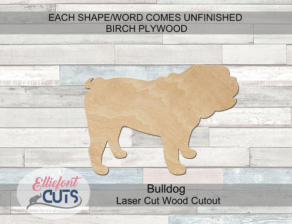 Bulldog Wood Cutouts - Elliefont Styles
