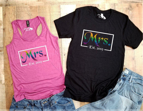 Mrs. and Mrs. Est. Date LBGT Couples Shirts | LBGT Wedding Honeymoon Tees