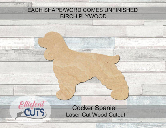 Cocker Spaniel Wood Cutouts - Elliefont Styles