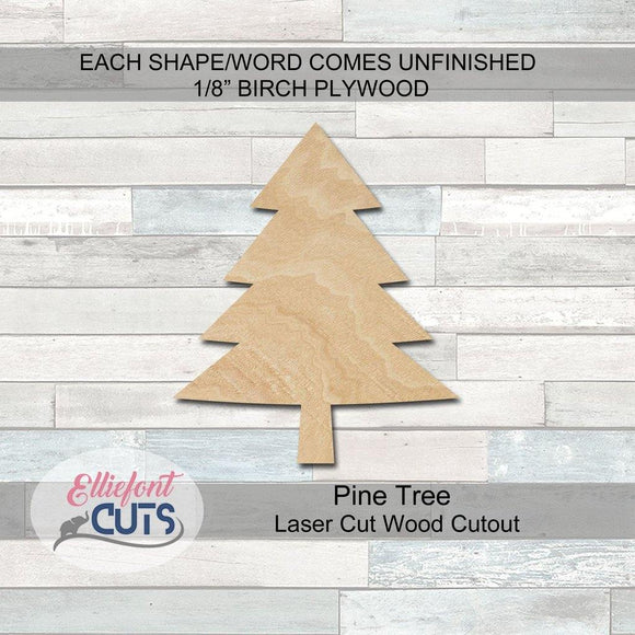 Pine Tree Wood Cutouts - Elliefont Styles