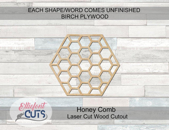 Honey Comb Wood Cutouts - Elliefont Styles
