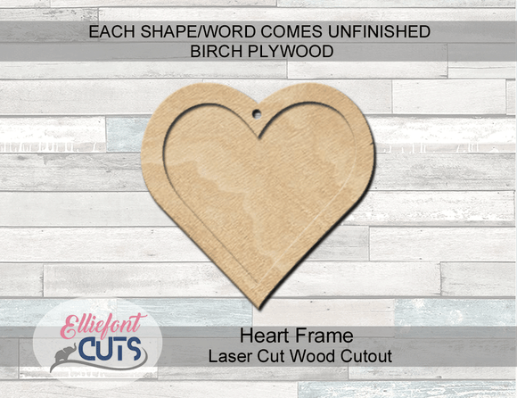 Heart Frame Ornament Wood Cutouts