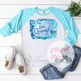 Ice Queen Shirt Raglan Baseball Tee Shirt Ice Castle Snowflakes - Elliefont Styles