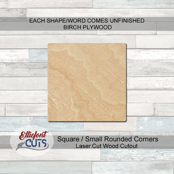 Square Wood Cutouts Rounded Corners