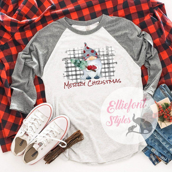 Gnome Merry Christmas Shirt Raglan Baseball Tee Shirt Christmas Holiday - Elliefont Styles