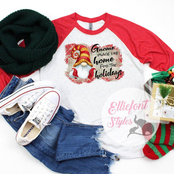 Gnome Place Like Home For The Holidays Shirt Raglan Baseball Tee Shirt Christmas Holiday - Elliefont Styles