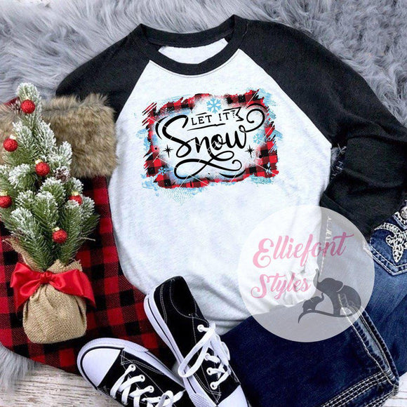Let It Snow Shirt Raglan Baseball Tee Shirt Christmas Holiday - Elliefont Styles