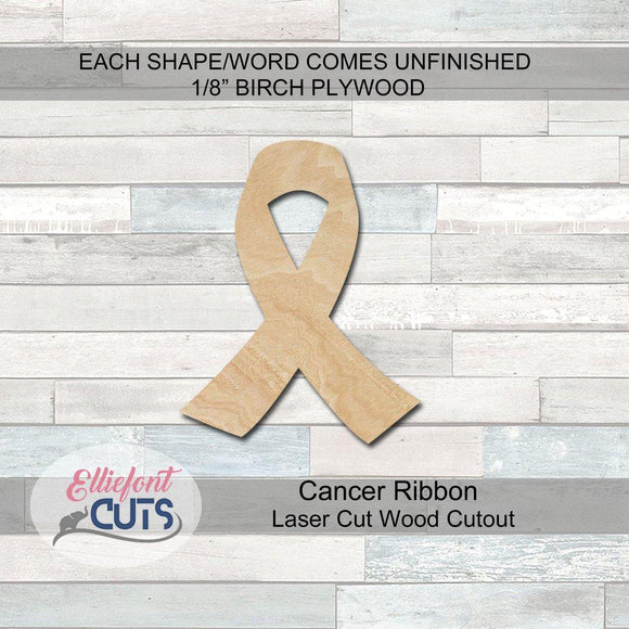 Cancer Ribbon Wood Cutouts - Elliefont Styles