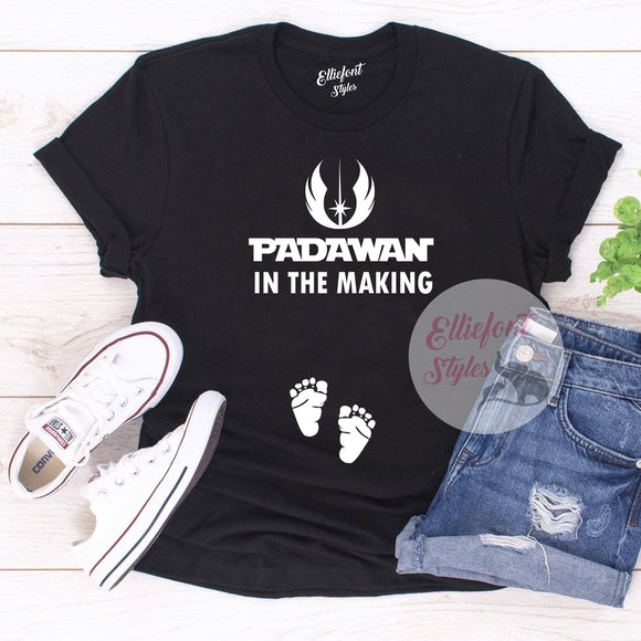 Padawan In The Making Funny Pregnancy Announcement Graphic Tee Shirt
