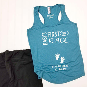 Baby's First Race 5k Pregnancy Announcement Shirt / Racerback Tank Top - Elliefont Styles