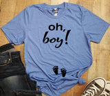 Oh, boy! Pregnancy Announcement Gender Reveal Graphic Tee Shirt