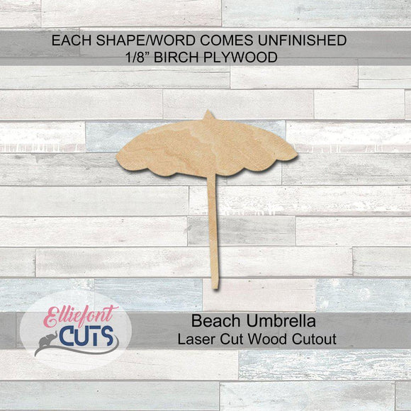 Beach Umbrella Wood Cutouts - Elliefont Styles
