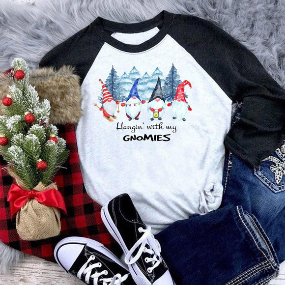 Hangin' with my gnomies Shirt Raglan Baseball Tee Shirt Christmas Holiday - Elliefont Styles