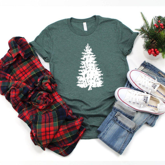 Distressed Christmas Tree Shirt Grunge Style Cute Winter Christmas Shirt Holiday Tee - Elliefont Styles