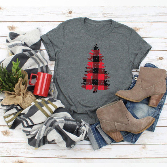 Buffalo Plaid Distressed Christmas Tree Shirt Grunge Style Cute Winter Christmas Shirt Holiday Tee - Elliefont Styles