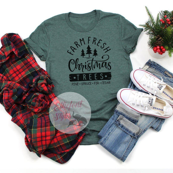Farm Fresh Christmas Trees Shirt Grunge Style Cute Winter Christmas Shirt Holiday Tee - Elliefont Styles