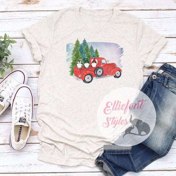 Red Vintage Truck Shirt Buffalo Plaid Gnomes Christmas