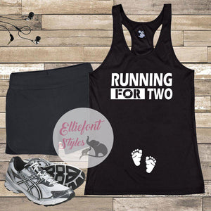 Running For Two Pregnancy Announcement Shirt
