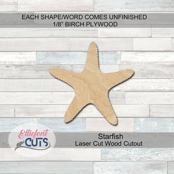 Starfish Wood Cutouts - Elliefont Styles