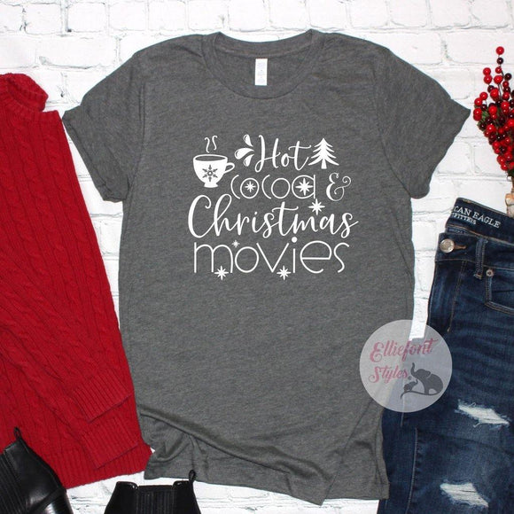 hot cocoa and christmas movies shirt