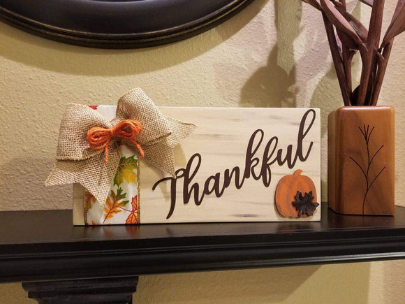 Thankful Fall Thanksgiving Wood Sign | Mantle Decorations
