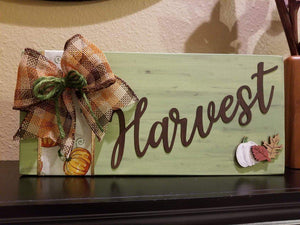 Harvest Fall Thanksgiving Wood Sign | Mantle Decorations - Elliefont Styles