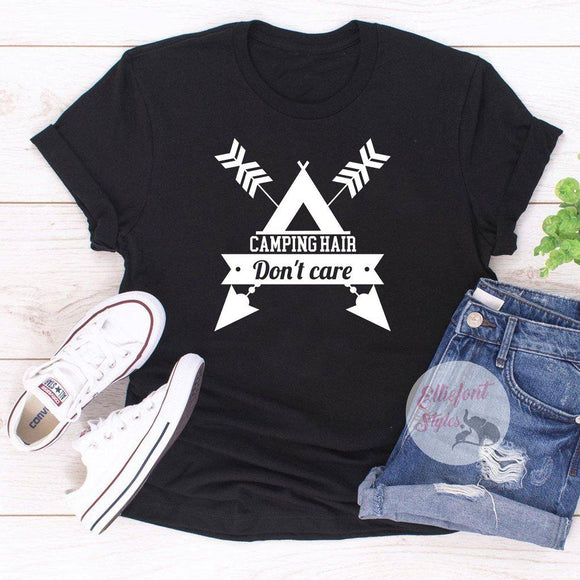 camping hair dont care shirt