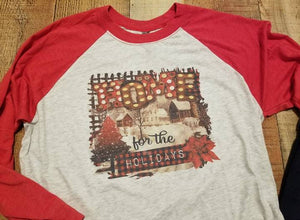 Home For The Holidays Adult Shirt, Raglan Baseball 3/4 Sleeve, Vintage Christmas Shirt - Elliefont Styles
