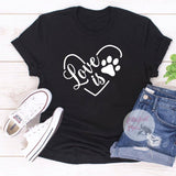 Love Is Pawprint Dog Shirt - Elliefont Styles