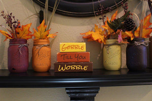 Fall Thanksgiving Wood Shelf Blocks /Mantle Decorations / Gobble till you wobble / Harvest - Elliefont Styles