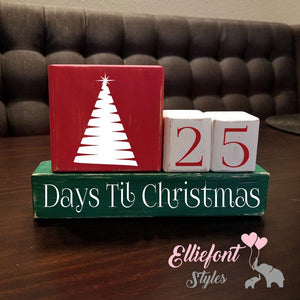 Days Till Christmas Countdown Block Set Christmas Tree / Nativity Manger / Wooden Blocks / Christmas Countdown - Elliefont Styles