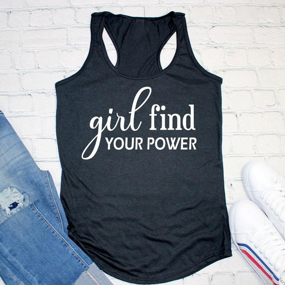 Girl Find Your Power Workout Tank Top - Elliefont Styles