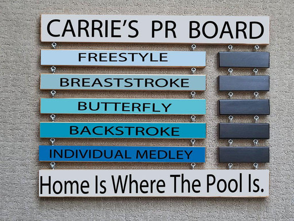 Swim PR Board Personal Record Display Board - Elliefont Styles