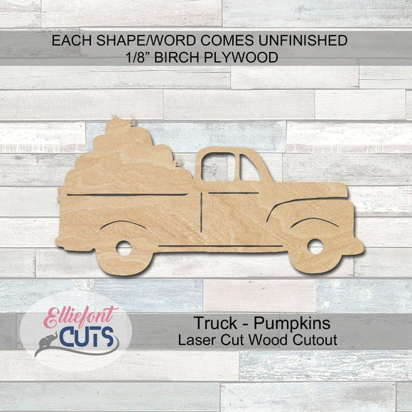 Pumpkin Truck Wood Cutouts