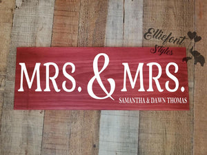 MRS. & MRS. Personalized Wood Sign