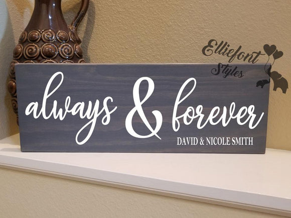 Always & Forever Personalized LGBT Wood Sign - Elliefont Styles