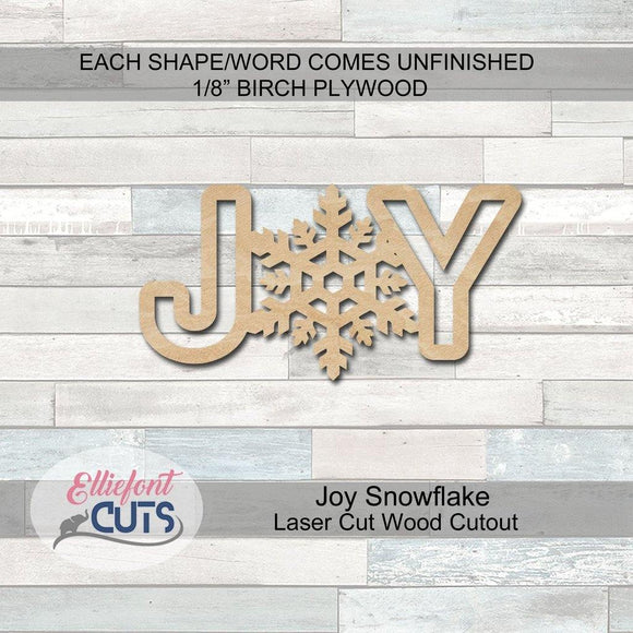 Joy Snowflake Wood Words
